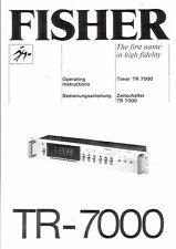 Fisher  Bedienungsanleitung user manual owners manual  für TR- 7000