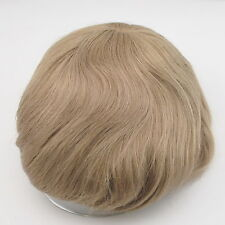 mens blonde toupee French lace tape fine hair system hair piece for men stock