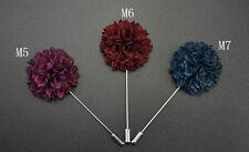 """Handmade Men's Flower Lapel Pin 1.5"""" Mix Color Geraniums Floral Boutonniere ML6"""