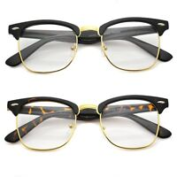 Retro Clubmaster Wayfarer Clear Lens Nerd Frames Glasses Mens Womens Half Metal