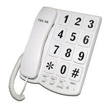 Gros bouton blanc Téléphone maison à cordon Montage Mural Lecture Facile 10 Cadran de vitesse