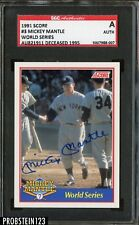 1991 Score World Series #3 Mickey Mantle Yankees HOF Signed AUTO /2500 SGC