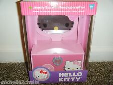 "Hello Kitty JEWELRY BOX with Removable Mirror 9""x6""x3"" Brand New in Box"