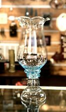 Large Handblown Glass Footed Hurricane Candle Holder Centerpiece Display Aqua