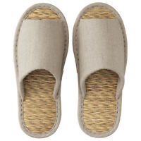 MUJI Tatami slippers front opening, M / linen / beige from Japan DHL Fast New