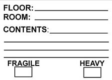 50 x Contents Labels for Moving Premises / Warehouse Storing + location Labels