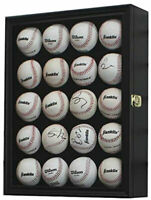 Baseball Display Case Cabinet Holder Shadow Box holds 20 Autographed Balls-Black