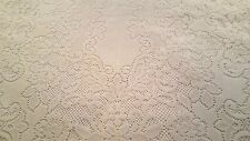 """Quaker style off white floral heavy polyester tablecloth 61"""" x 92"""" vtg"""