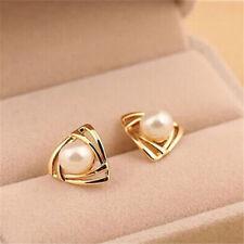 EPIC VAULT- Triangular White Freshwater Pearl Stud Earrings- Gold Filled