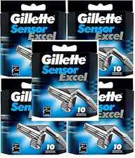 Mens Gillette Sensor Excel Razors Blades, 50 Cartridges, FREE SHIPPING