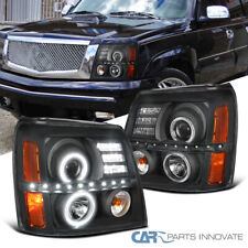 Fit Cadillac 02-06 Escalade Black LED Halo Projector Headlights Head Lamps Pair