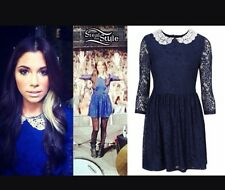 Topshop Navy Crochet Lace Peter Pan Collar Vtg 60s Celeb Shift Skater Dress 8 4