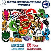 100 PCS SKATEBOARD LOGO Stickers Toymachine Alien Workshop Santa Cruz Cortina