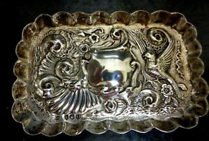 Victorian Sterling Silver Antique Hallmarked English Embossed Pin/Card Tray