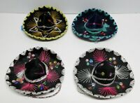 VINTAGE MEXICAN ORNAMENTAL 6 INCH HATS LOT OF 4   / USED BUT DECENT CONDITION