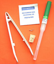 JEWELLED Nose Piercing Kit - STERILISED FORCEPS NEEDLE JEWELLERY - Body Piercing