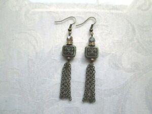 Handmade Czech Picasso Glass Beads and Antique Bronze Chain Tassle Earrings