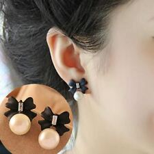 Stud Earrings for Women Simulated Pearls Crystal Black Bow Earring Fashion Jewel