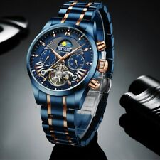 2020 Tourbillon Men's Watches Top Brand Luxury Blue Mechanical Stainless Steel