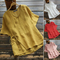 ZANZEA 8-24 Women Summer Plain Solid Short Sleeve Tie Up Top Tee T Shirt Blouse