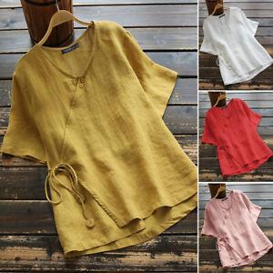 ZANZEA 8-24 Women Summer Plain Solid Short Sleeve Tie Up Top Tee T Shirt Blouse
