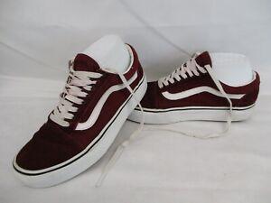 VANS Old Skool Low Top Trainers, Skate Shoes, Red, Burgundy, UK 5.5, Eur 38.5