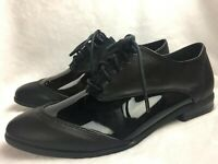 Michael Antonio Womens Size 5 M Oxfords Loafers Black Flat Shoe Clear Sides NEW