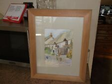 pencil drawing and water colour pub in cornwall