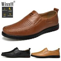 Men's Driving Casual Boat Shoes Leather Flat Hollow Breathable Moccasin Loafers