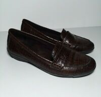 Etienne Aigner Abilene Flats Women's 9 M Brown Leather Loafer Shoes - 70072-3