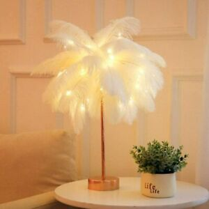 White Feather Shade Table Lamp Lampshade With Remote Bedside Desk Night Light US