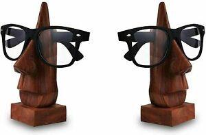 """6"""" Wooden Carved Eyewear Retainer Nose Shaped Spectacle Holder Stand  Set Of 2"""