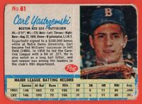 1962 Post #61 Carl Yastrzemki LOW GRADE FILLER CREASE Boston Red Sox FREE SHIP