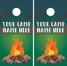 CUSTOM CAMP Name Camping Cornhole Board Skin Wrap Decal -LAMINATED