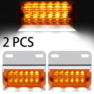 2X Amber 15 Led Side Marker Brake Turn Light for Freightliner Kenworth Peterbilt