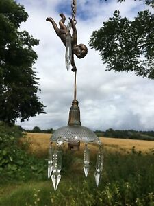 Vintage Old French Flying Cherub Light With Hanging Crystals And Brass Chain