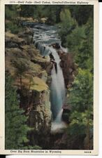 shell falls over big horn mountain ,wyoming postcard 30s era