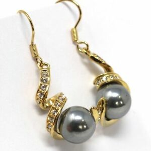 Gorgeous Round Grey Pearl Earring Dangle Women Jewelry 14K Yellow Gold Plated