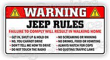 Funny Jeep Rules Warning Sticker   Safety Instructions Decal JT JK JL Gladiator