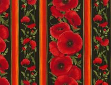 1/2 Yard Timeless Treasures Chong-a Hwang Poppy Stripe Cotton Fabric C5836 Black