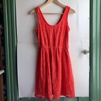 MOSSIMO Coral Red Floral Lace Sleeveless Tank Scoop Neck Skater Dress Medium