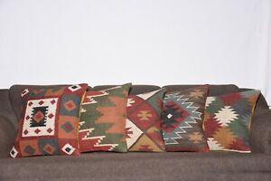 Natural Wool Kilim Pillow Beige Kilim Pillow Ethnic Kilim Pillow Vintage Kilim Pillow  P- 1153  18x18 inch Embroidered Kilim Pillow