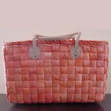 Maisstroh-Tasche Korb Strohtasche Shopper Einkaufskorb Kurz-Henkel orange XXL
