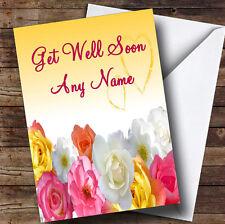 Yellow Flowers Personalised Get Well Soon Greetings Card