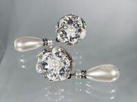 Vintage Stunning Swarovski Crystal Flower w Dangle Pearl Pierced Earrings