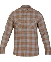 Hurley Mens Shirt Brown Gray Size Small S Plaid Flannel Button Down $55- 127