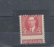 #233 large horizontal mis-perf, 3 cent mufti 1937 issue Canada mint