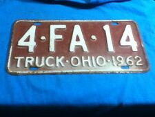 License Plate Tag Vintage Ohio 4 FA 14 Truck 1962 Rustic USA