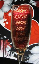 Lots of Love Wedding Set Tall Champagne Toasting Flutes Glasses Personalized
