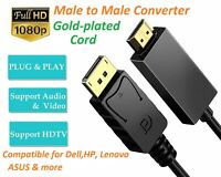 1.8M Quality Display Port DP TO HDMI Male LCD PC HD TV Laptop AV Cable Adapter